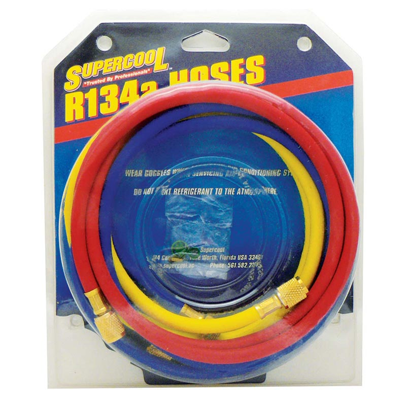 R134a 72in. Manifold Gauge Hose Set - RED, YELLOW, BLUE
